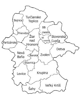 Mapa Banskobystrickej diecézy